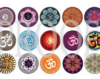 Digital Bottle Cap Image Sheet -  Om Symbol - Yoga - 1 Inch Digital Collage - Instant Download