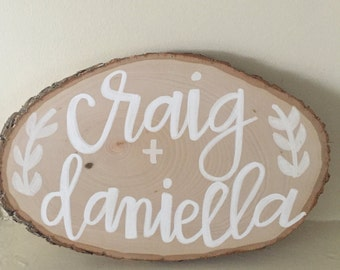 tree slice wedding sign