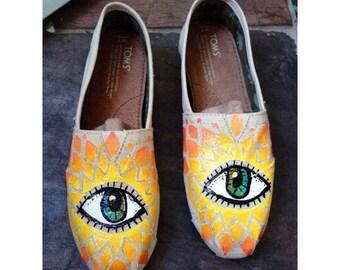 Evil Eye Sunburst Custom Hand Painted TOMS