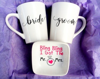 Bride and Groom Set - Bridal Shower Basket - Bridal Shower Gifts - Bride to be Gifts - Engagement Gifts - Wedding Gifts - Gifts for Brides