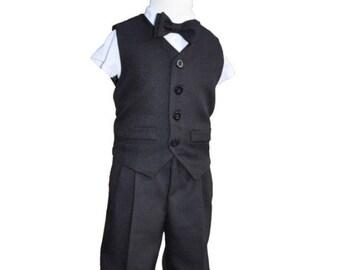 Black Boys Suit, Black Boys vest and short suit,ring bearer, boys vest and pants suit, Boys Formal Suit, Black Ring bearer suit,