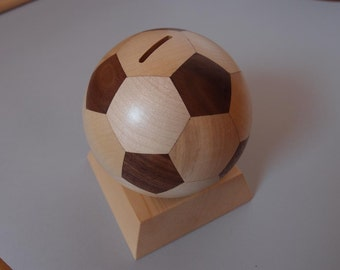 Football money box made of wood