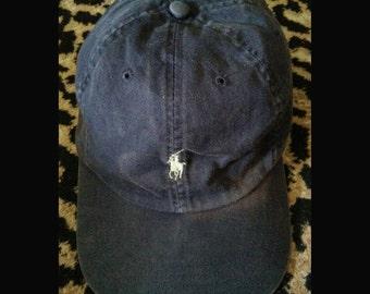 Great Sale//Ralph Lauren Vtg POLO small white pony cap hat adjustable size