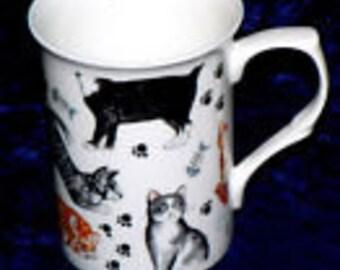 Cats bone china mug - personalised if required at no extra cost