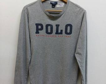 POLO Ralph Lauren Shirt Women Tshirt Large Vintage Ralph Lauren Spell Out 90's Hip Hop Polo Ralph Lauren Tee Tshirt Size L