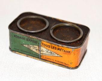Metal Box L'Hermetic Rodex Green and Orange 1950s