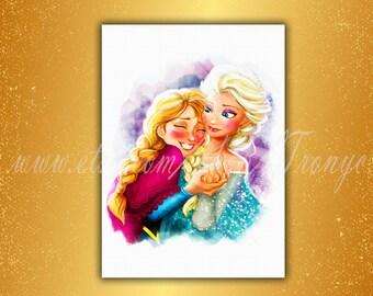Frozen Elsa and Anna, Frozen Print, Disney princess, Elsa and Anna watercolor, Art, Frozen kids decor, Princess Elsa and Anna Poster, T-071