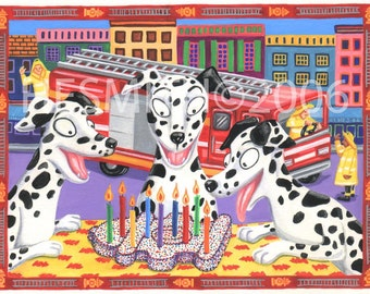 Hot Stuff - Dalmation Birthday Card - Card for Firefighters - Firehouse - Fire Hydrant Cake with Candles - Fire Engine - Funny Art Card