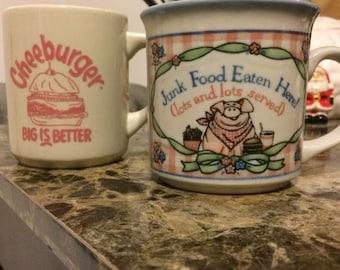 Vintage Junk Food & Cheeseburger Mugs