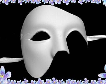 White Phantom of the Opera Half Face Men Masquerade Mask