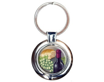 Wine Bottle with Bread and Grapes Keychain Key Ring