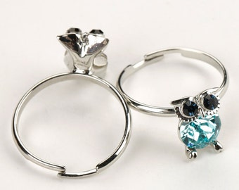 Austrian crystal owl ring, blue crystal ring