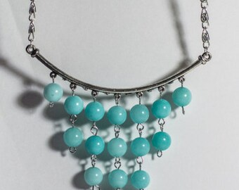 Sky Blue Glass Bead Necklace and Earrings Set