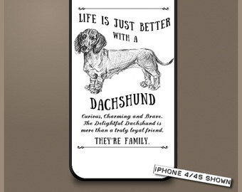 Dachshund dog phone case cover iPhone Samsung ~ Can be Personalised