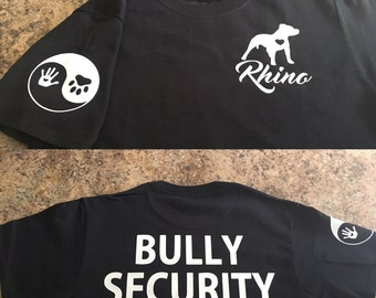 Bully security tshirt. Peace for pit bulls and bully breeds.