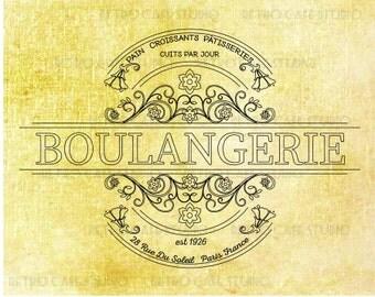 Digital Download Vintage Boulangerie Illustration Bakery Transfer Iron On Clip Art; 1012