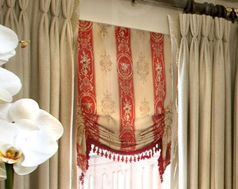 Shirred London Window Valance  Faux Shade Traditional Red and Honey Floral Stripe with Red Beaded Tassel Fringe