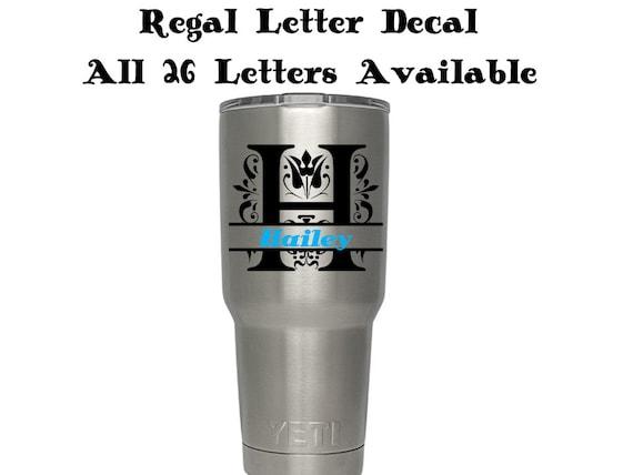 regal split letter monogram regal letter name yeti decal