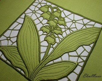 MACHINE EMBROIDERY DESIGN - Richelieu cutwork Lily of the valley 5*7 _ 10*10