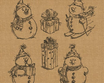 Snowman and christmas gift boxes - MACHINE EMBROIDERY DESIGN