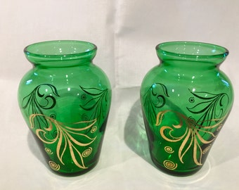 Pair of Small AH Emerald Green Vases with Gold Embellishment, Mid-Century