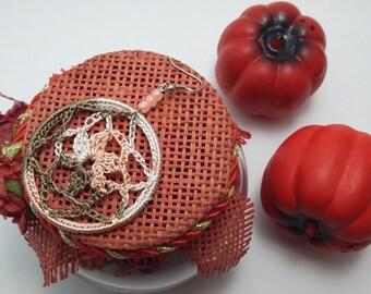 Crochet earrings in handmade with beads, knitted earrings