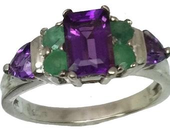 14k Amethyst,&  Emerald Ring,  Free Sizing
