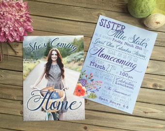 Digital Party Invitation - Customizable - LDS Mission Homecoming - Watercolor Floral Invite