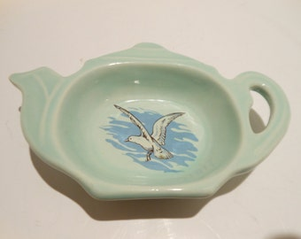 Vintage Tea Bag Holder/Turquoise With Seagull