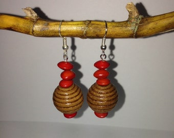 Bold Drop natural earrings made with Red sandalwood seed and wooden pendant
