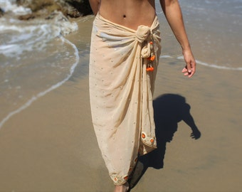 women's Beach Sarong, embroidered beach cover up, handmade,resort, swimsuit coverups, Beach coverups, sarongs, pareo