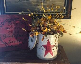 ON SALE***Primitive Antiqued Paint Bucket with Sunflower Floral Arrangment