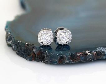 Classic Diamond Halo Earrings, Diamond Studs, Diamond Earrings, Diamond Halo Setting Only,  Anniversary, Birthday, Graduation,