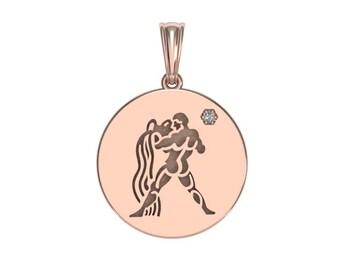 Aquarius Zodiac Necklace, Zodiac Jewelry, Zodiac Necklace, Gold Necklace, Rose Gold Jewelry, Solid Gold Zodiac Necklace