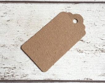 10 Dark brown luggage label swing tags recycled kraft paper 3.5cm x 6.7cm