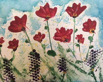 "Acrylic painting ""Poppy"" is an ORIGINAL contemporary acrylic painting"