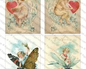 Valentine's Day Images #4 - 5 Pack of Printable Digital Collage Sheets - Instant JPEG Downloads