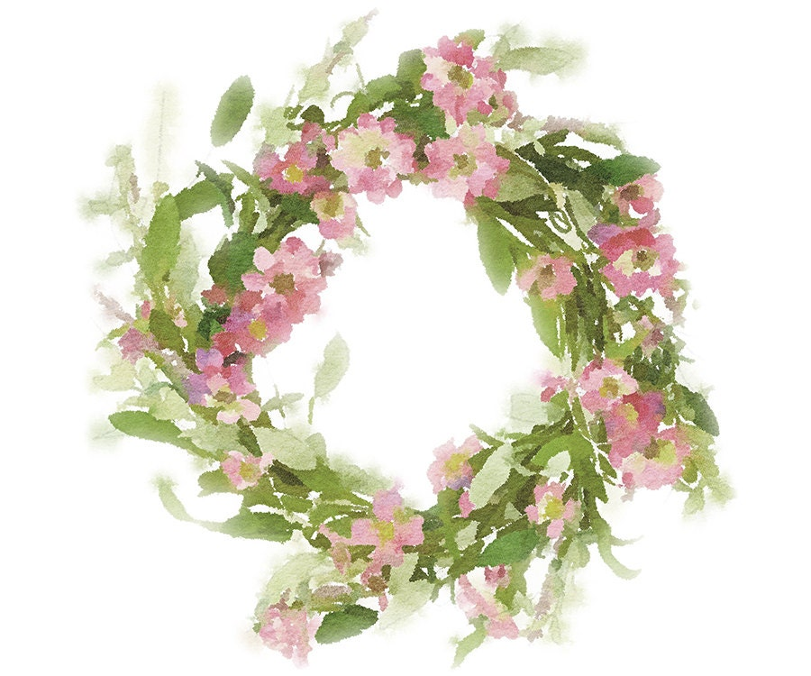Floral Wreath Clipart Pretty Pink Flower Wreath Watercolor