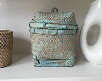 Turquoise Rattan hinged lid box