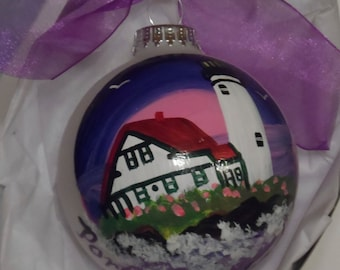 Lighthouse Ornament, lighthouse art, hand painted ornament, Maine art, lighthouse ball, lighthouse glass ornament 3 1/4 round with bow
