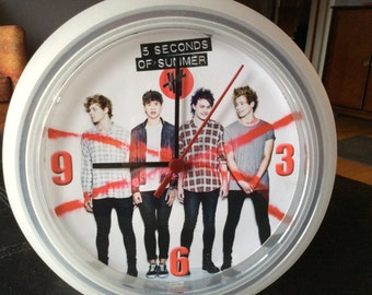 5 (Five) Seconds of Summer Upcycled Wall Clock