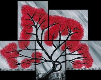 "L'Albero Scarlatto - ""The Scarlet Tree"" - Acrylic Painting"