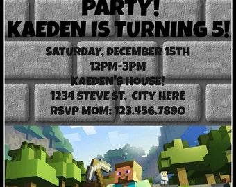 Mine Themed Birthday Party Invite, Invitation, Digital