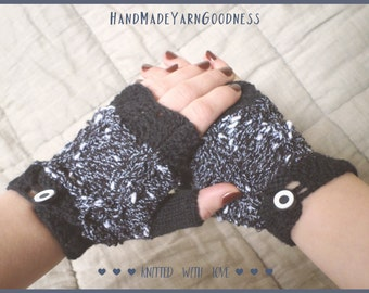 Black and White Knit Fingerless Mittens - Knit Arm Warmers