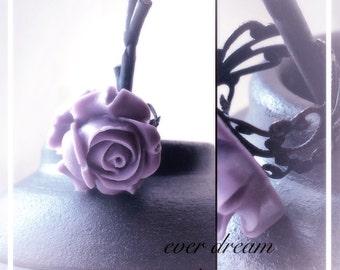 Purple Rose Black Filigree Ring