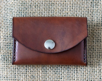 Purse leather, leather business card holder, leather wallet, Brown