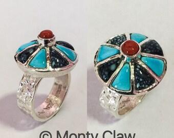 Monty Claw tufa cast, inlay ring, Navajo jewelry