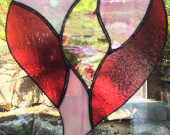 Valentines Heart Stained Glass Window Hanging