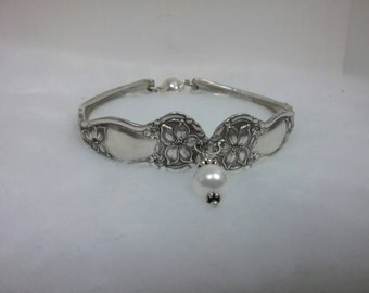 Really lovley old vintage spoon bracelet with center pearl.