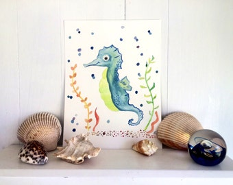 Seahorse Water Color Painting